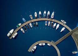 Aerial View by Drone of Yacht Club and Marina. Top view of yacht club.