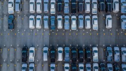 Aerial view Cars For Sale Stock Lot Row. Car Dealer Inventory.
