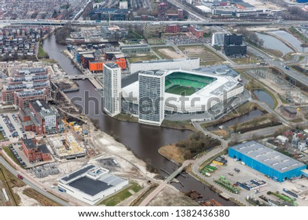 Aerial view city of Goningen with soccer stadion, The Netherlands #1382436380