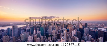 aerial view cityscape of modern city in new york #1190397115