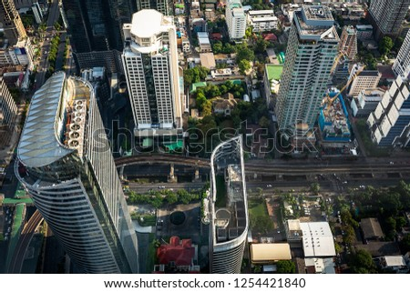 Aerial view cityscape with traffic in Bangkok metropolis Thailand #1254421840
