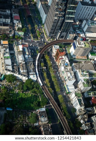 Aerial view cityscape with traffic in Bangkok metropolis Thailand #1254421843