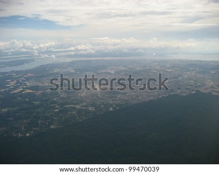 Aerial View, clearly visible deforestation of tropical forests to the city limits of Manaus, Amazonas  Brazil