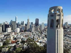Aerial view Coit Tower and downtown financial district skylines in San Francisco, California, USA