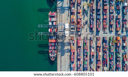 Aerial view Container Cargo ship and Cargo plane with working crane bridge in shipyard #608805101
