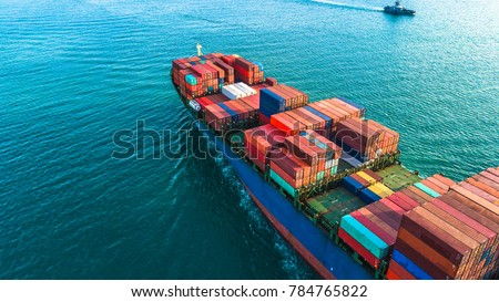 Aerial view container cargo ship, import export business logistic and transportation of International by container ship in the open sea. - Shutterstock ID 784765822