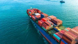 Aerial view container cargo ship, import export commerce business trade logistic and transportation of International by container cargo ship boat in the open sea, Freight shipping maritime.