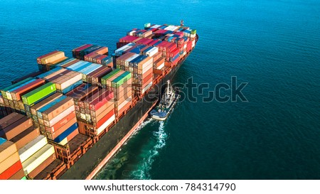 Aerial view container ship business import export logistic and transportation of international container cargo ship in the open sea.