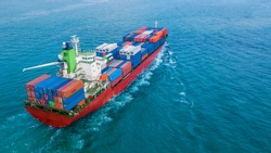 Aerial view container ship, Business import export logistic and transportation of International by cargo ship in the open sea.