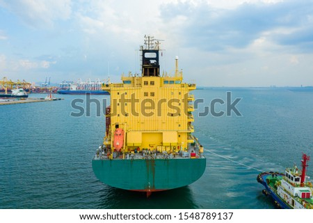 Aerial view container ship, Cargo ship of business logistic transportation sea freight,Cargo ship, Cargo container in factory harbor at industrial estate for import export around in the world