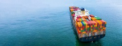 Aerial view container ship carrying container box global business cargo freight shipping commercial trade logistic and transportation oversea worldwide container vessel, Container cargo freight ship.