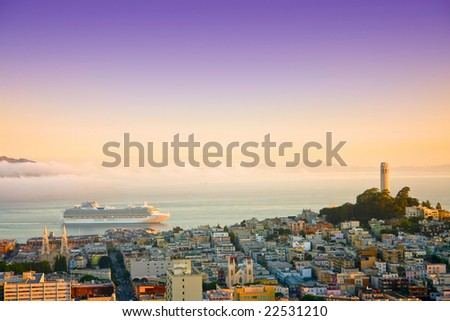 Aerial view cruise ship at San Francisco and bay area on sunrise