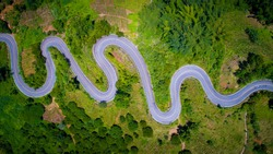 Aerial view curve road on the mountains
