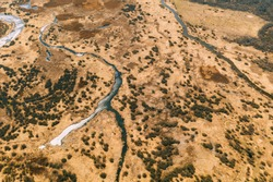 Aerial View Curved River In Early Spring Landscape. River bends Curves and dry grass landscape. Top View Of Beautiful European Nature From High Attitude. Drone View. Bird's Eye View