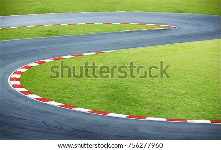 Aerial view curving race track   #756277960