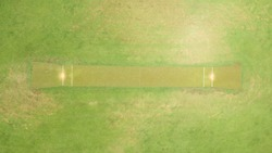 Aerial view directly above a Cricket Pitch