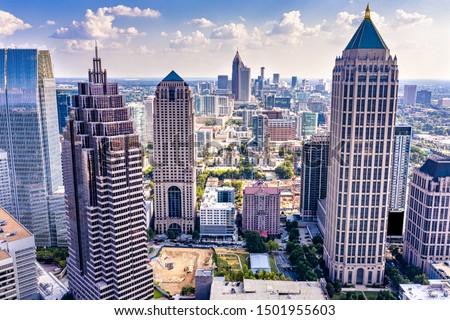 Aerial view downtown Atlanta skyline Stock photo ©