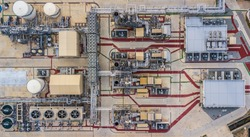 Aerial view Electrical power plant support all oil and gas refinery plant form industry zone.