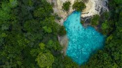 Aerial view emerald pool,  Blue Pool tourist destination in Krabi, Krabi, Thailand