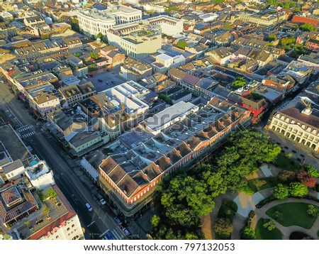 Aerial view French Quarter with extant historical buildings from 19th century and part of Jackson Square. The historic district section of the city of New Orleans, Louisiana, USA. #797132053
