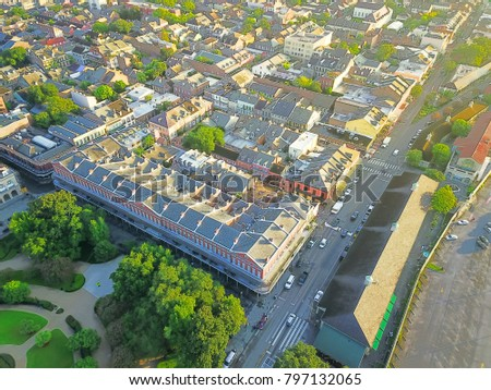 Aerial view French Quarter with extant historical buildings from 19th century and part of Jackson Square. The historic district section of the city of New Orleans, Louisiana, USA. #797132065
