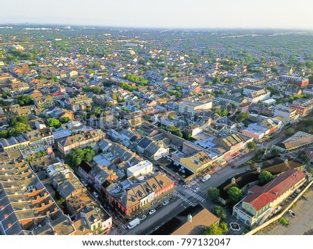 Aerial view French Quarter with extant historical buildings from 19th century. The historic district section of the city of New Orleans, Louisiana, USA, morning warm light. #797132047