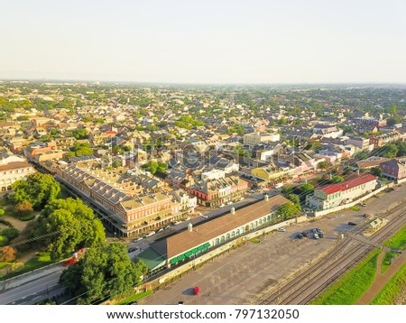 Aerial view French Quarter with extant historical buildings from 19th century. The historic district section of the city of New Orleans, Louisiana, USA. Railroad from Leningradsky railway station #797132050