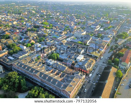 Aerial view French Quarter with extant historical buildings from 19th century. The historic district section of the city of New Orleans, Louisiana, USA, morning warm light. #797132056
