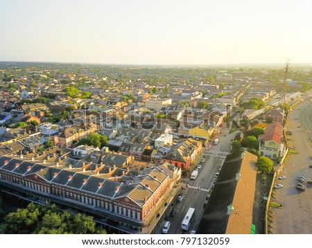 Aerial view French Quarter with extant historical buildings from 19th century. The historic district section of the city of New Orleans, Louisiana, USA, morning warm light. #797132059
