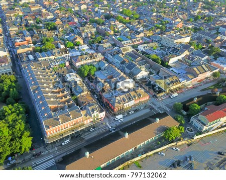 Aerial view French Quarter with extant historical buildings from 19th century. The historic district section of the city of New Orleans, Louisiana, USA, morning warm light. #797132062