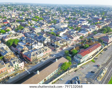 Aerial view French Quarter with extant historical buildings from 19th century. The historic district section of the city of New Orleans, Louisiana, USA. Railroad from Leningradsky railway station #797132068