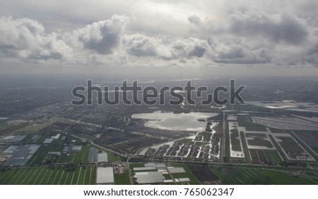 Aerial view from a plane at Rotterdam, The Netherlands #765062347