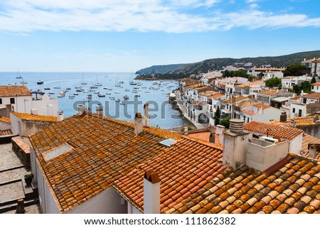 Aerial view from above of Cadaques, Costa Brava, Spain