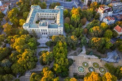 Aerial view from drone of the building of the Archeological Museum, Varna, Bulgaria