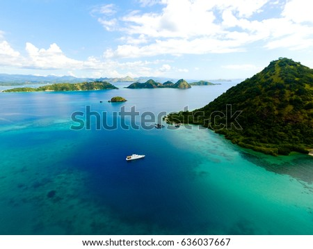 Shutterstock Aerial view from Flores Island, Indonesia labuan Bajo
