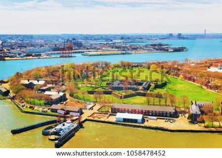 Aerial view from helicopter on Governors Island in Upper New York Bay. New York City, NYC, USA.