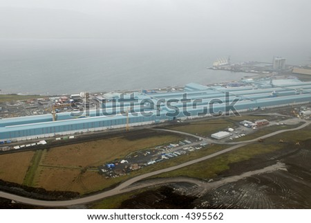 Aerial view from helicopter to Reykjavik dock, Iceland.