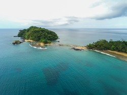 Aerial view from Ilheu Bom Bom in Prince Island we can also see the  walkway that goes from the beach to the Bom Bom ilheu.Príncipe is the world's first Biosphere Reserve by UNESCO