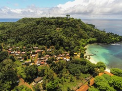 Aerial view from isle of turtledoves (ilheu das rolas ) in Sao Tome e Principe