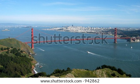 Aerial view from Marin County, with Alcatraz and San Francisco in the background.