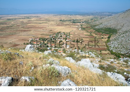 aerial view from Marshej Castle of village and of the plain around Lake Skadar, Albania
