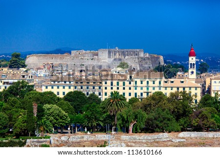 Aerial view from Old fortress on the city with  New Fortress, Kerkyra, Corfu island, Greece