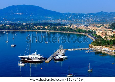 Aerial view from Old fortress on the marina with yachts, Kerkyra, Corfu island, Greece #113724664