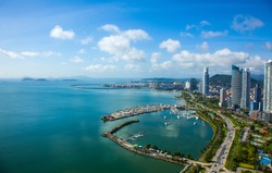 Aerial View from Panama City in Panama.View to Casco Viejo and Panama Canal
