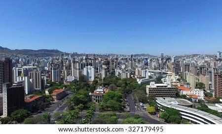 Aerial view from Praca da Liberdade to Belo Horizonte skyline, Minas Gerais, Brazil.