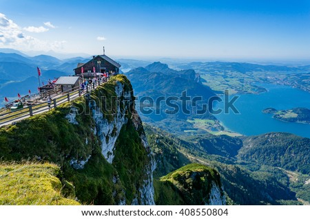 aerial view from schafberg peak ...