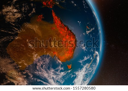 Aerial view from space of ecological fire disaster in Australia; 3D Illustration