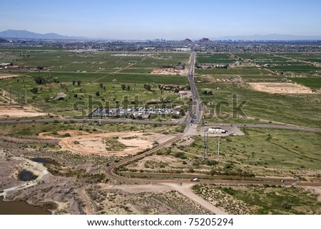 Aerial view from state route 87 looking west at McDowell Rd into Mesa, Tempe Scottsdale and Phoenix, Arizona