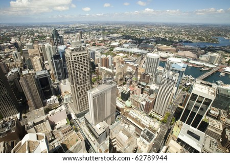 Aerial view from Sydney Tower looking towards the western suburbs of Sydney Australia