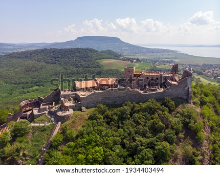 Aerial view from Szigliget castle during the day, in the background Badacsony hill, in the Balaton Uplands lies in a beautiful place in Hungary Stock photo ©
